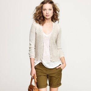 J CREW 100% Linen open knit cardigan M oatmeal